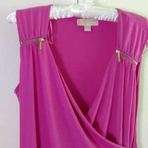 Michael Kors Pink Zippered Ruched Dress